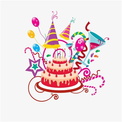 Birthday cake party streamers balloons png image for free download
