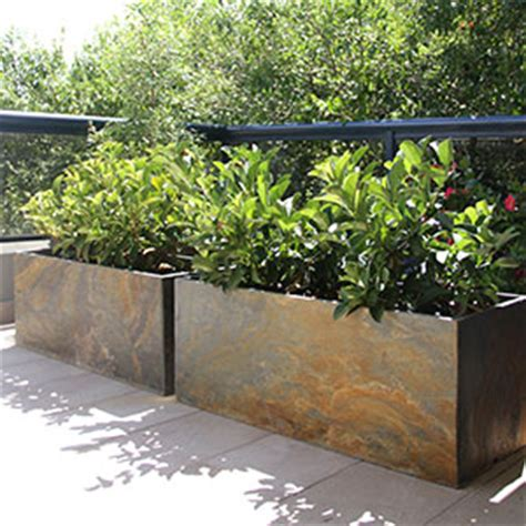 Terrace Planters by Slate Trough Planters Designing A Terrace For A Home In
