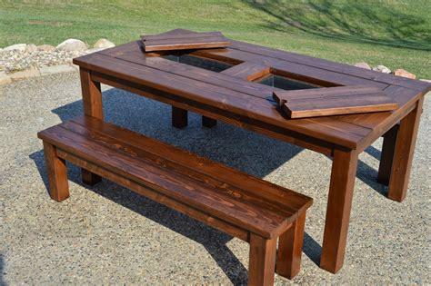 Wood Patio Tables Kruse S Workshop Patio Table With Built In Wine Coolers