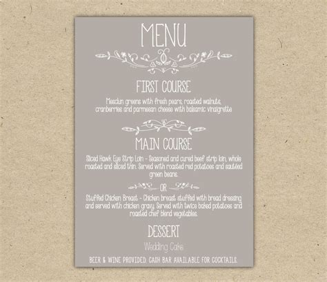 Wedding Menu Template by Wedding Menu Dinner Custom Wedding Reception By Bejoyfulpaper