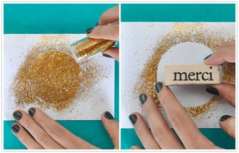 how to make glitter cards diy gilded thank you cards camille styles