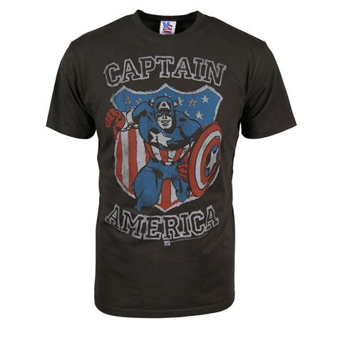 T641 Shirt New Captain America 09 junk food mens captain america shield t shirt black