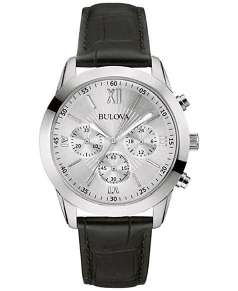 bulova s chronograph black leather 40mm