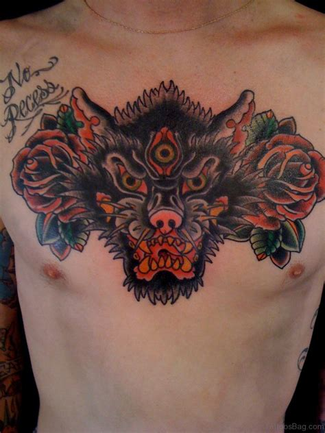 rose wolf tattoo 50 magnificent wolf tattoos for chest