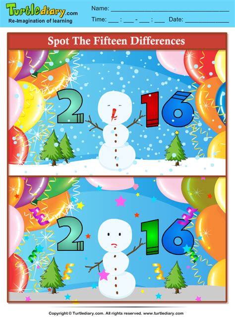 spot the difference 2016 spot the differences 2016 new year worksheet turtle diary