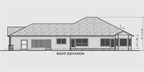 House Plans Narrow Lot With View by One Level House Plans Side View House Plans Narrow Lot House