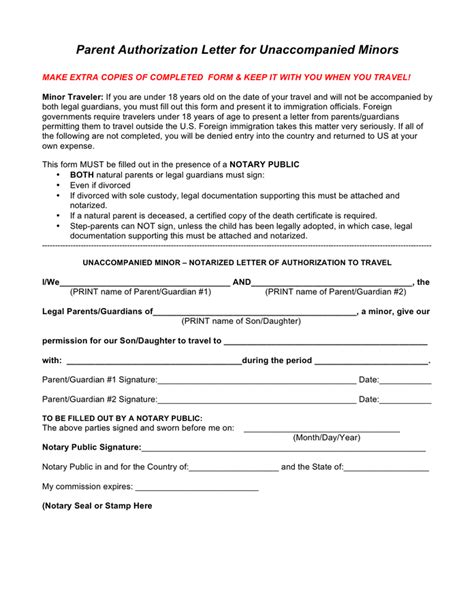 authorization letter for unaccompanied minor parent authorization letter sle for unaccompanied
