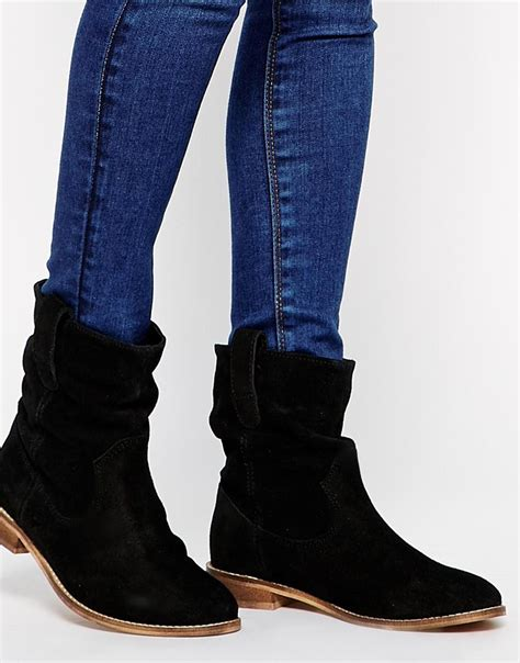 asos aloof suede pull on ankle boots in black lyst
