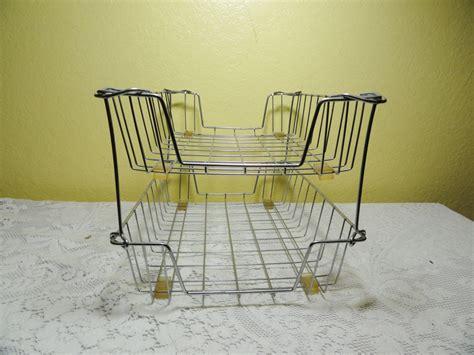 wire desk basket vintage wire file basket office in out mail desk organizer 2