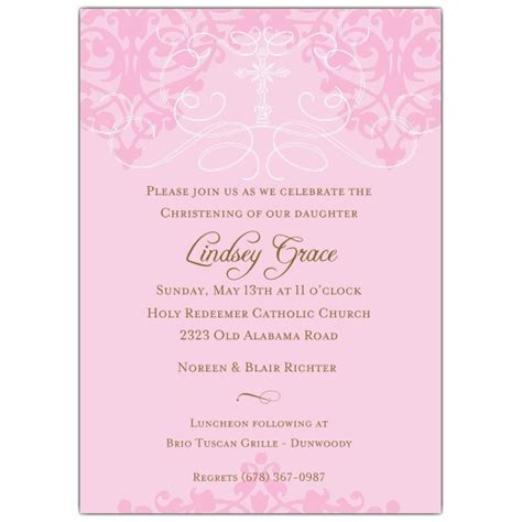 fleur pink christening invitations paperstyle
