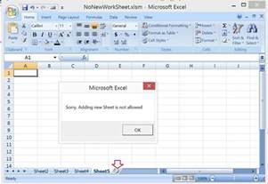 excel vba prevent adding new worksheet