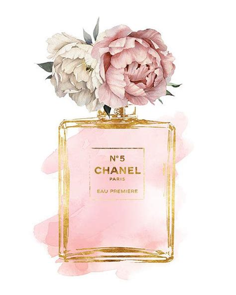 Chanel Anak Pink K chanel no5 8x10 pink peony watercolor watercolour gold effectprinted coco mode