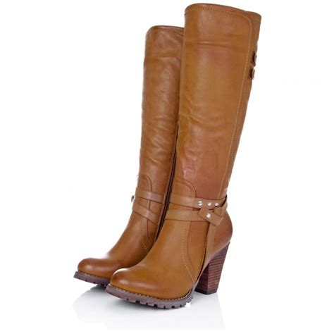 buy august block heel knee high biker boots leather