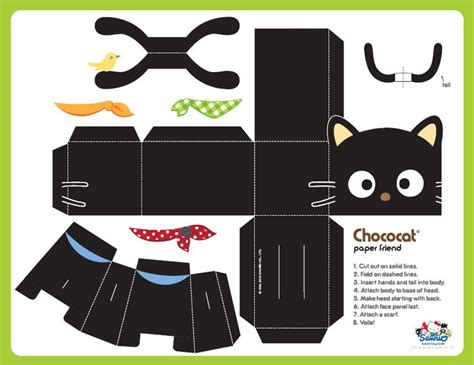 3d Papercraft Printables - free printable chococat cat paper made of paper