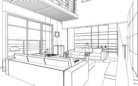 Interior Design Styles Bedroom Sketch Illustration Of An Outline Sketch Of A Interior 3d