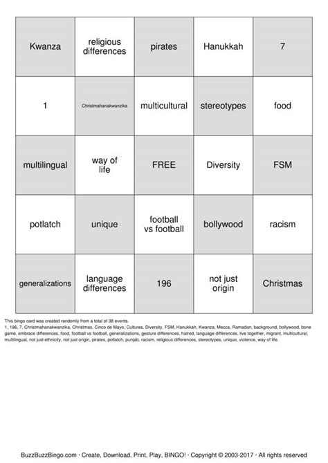 diversity bingo card pack an experiential learning event