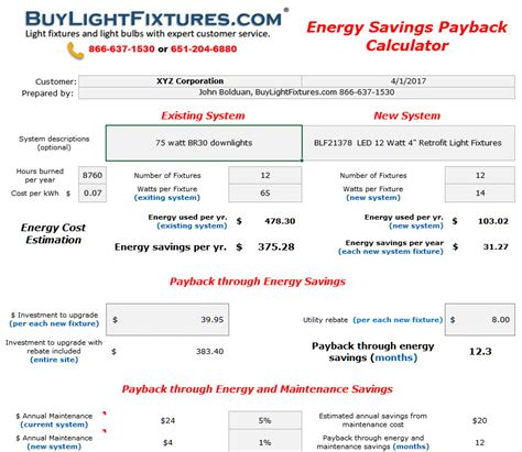 Lighting Payback Calculator Light Fixture Calculator
