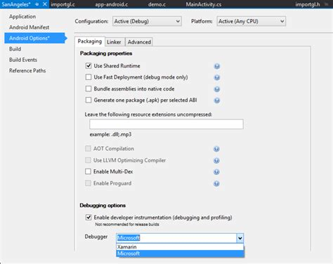 xamarin android project properties stackoverflowxchanger build and debug c libraries in xamarin android apps with
