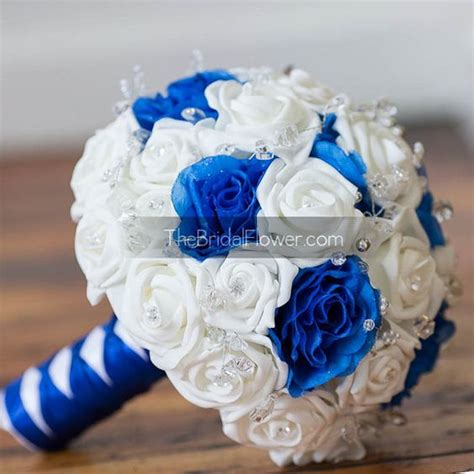 Wedding Bouquet Royal Blue by Royal Blue And White Wedding Bouquet With Crystals Bridal