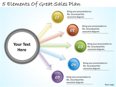 1113 Business Ppt Diagram 5 Elements Of Great Sales Plan Powerpoint Template Powerpoint Powerpoint Sales Presentation Templates