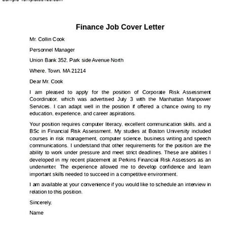 sle finance internship cover letter sle cover letter for finance manager position ideas