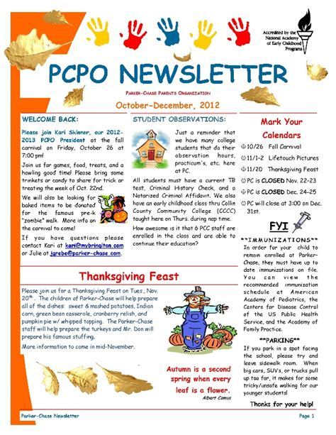 october preschool newsletter template pcpo october december 2012 newsletter