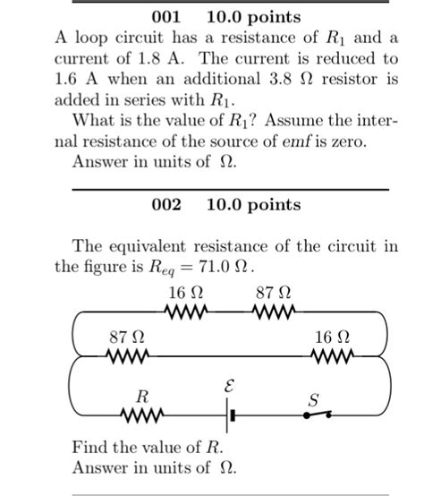 what value of resistor r gives the circuit a loop circuit has a resistance of r 1 and a curre chegg