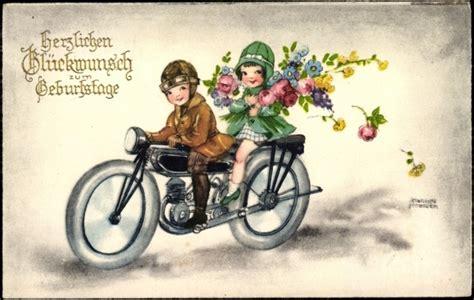 Motorrad Beifahrer Englisch by K 252 Nstler Ansichtskarte Postkarte Petersen Hannes