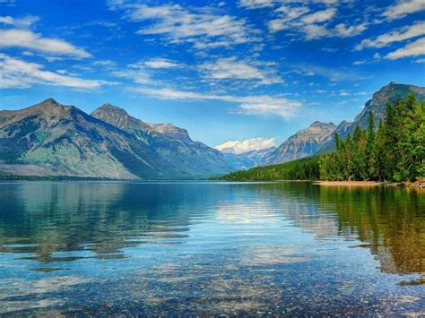 lake mcdonald crystal waters green pine forest mountains