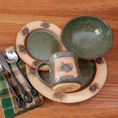 rustic pinecone dinnerware cabin place