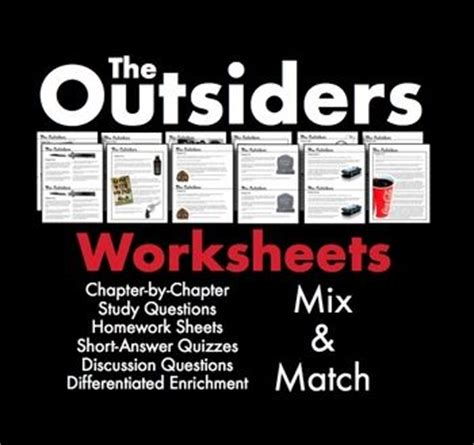 themes of the outsiders novel outsiders worksheets quizzes homework discussion s e