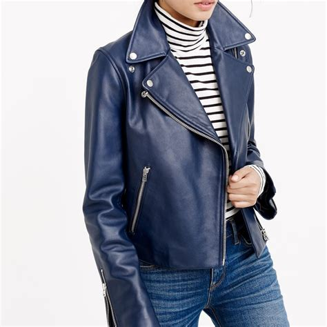 Jaket J j crew collection leather motorcycle jacket rank style