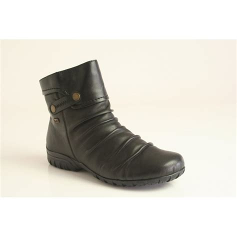 rieker rieker black leather ankle boot with a ruched front