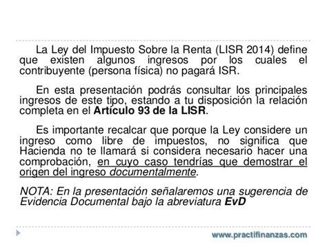 articulo 93 isr fracciones ingresos libres de impuestos para personas f 237 sicas lisr 2014