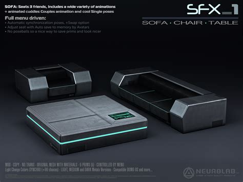 sci fi couch new sfx 1 sofa lounge set v 2 neurolab cyber
