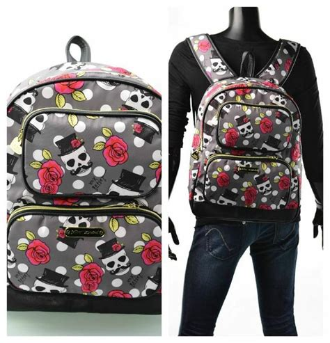 betsey johnson backpack skull stach polka and roses purse