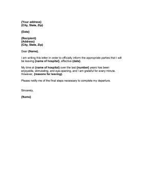 doctor hospital resignation letter
