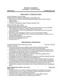 Exles Of Resumes For Internships by Internship Resume Exle Sle