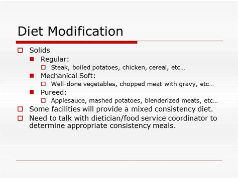 Modification Of Diet by Treatment Ppt