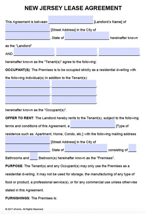 Rental Lease Agreement Nj Template Free New Jersey Residential Lease Agreement Pdf Word