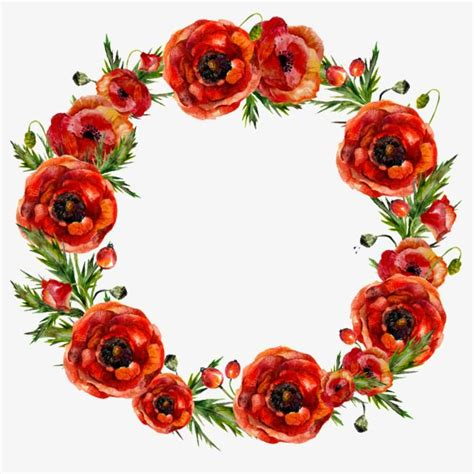red flowers garland watercolor wreath flowers png