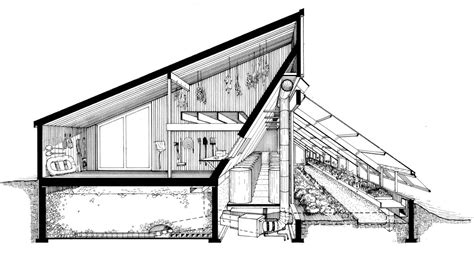 One Story Cottage Plans the ark section perspective of barn rock heat storage