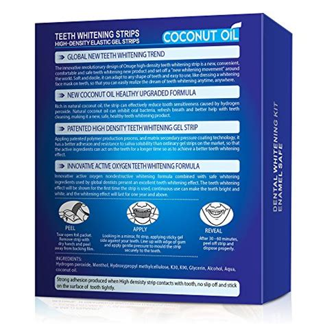 natural coconut oil teeth whitening strips kit
