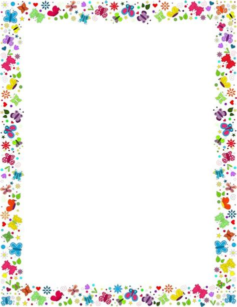 butterfly border template a border featuring butterflies in various colors and