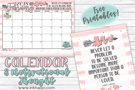 printable calendar headers february 2018 calendar and a thought about love inkhappi