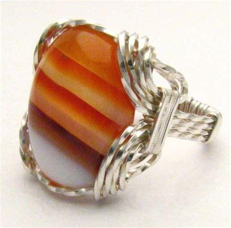handmade sterling silver wire wrap sardonyx gemstone ring