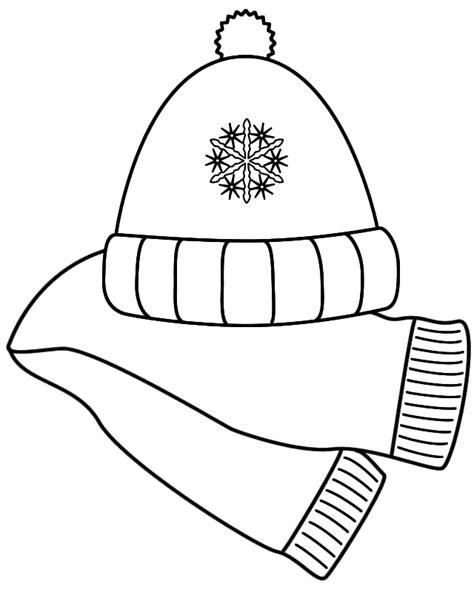 coloring pages of mittens and hats best photos of winter scarf hat and template scarf