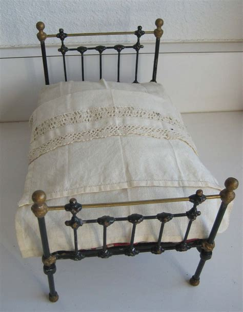 antique cast iron doll bed toy miniature furniture from