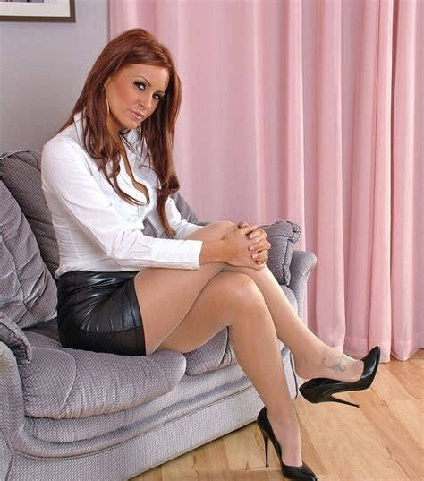 tight leather skirts stockings high heels sheer shimmer pantyhose short tight leather skirt white