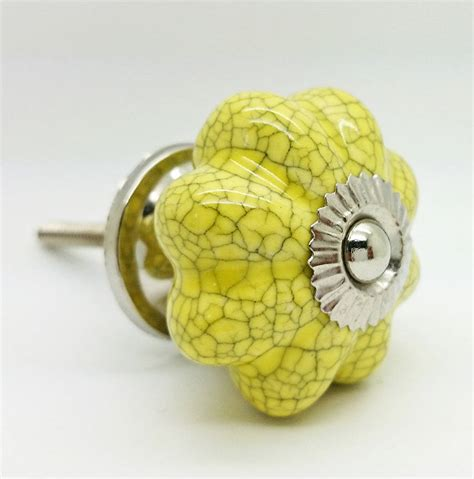 Yellow Ceramic Knobs by Yellow Crackle Ceramic Cupboard Door Knob Handle By